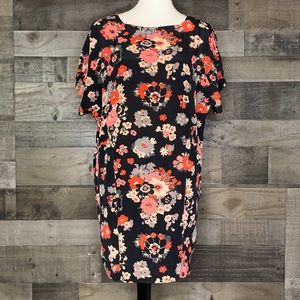 Silk Shift Dress Floral Print Joie Lenny Pockets
